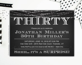 30th Birthday for Her, Adult Birthday Invitations, 30th Birthday for Him, Surprise Birthday Invitation, Black and white, Printable, Pdf