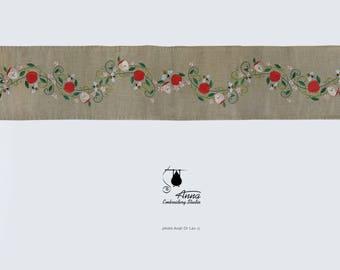 """Embroidered runner; 80"""" (203 cm); Rosh haShana gift; Jewish holidays; Judaica;  Land of Israel; Jewish New Year; Rosh ha Shana; Table runner"""