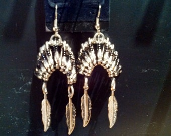 Handmade Beaded Indian Headdress Earrings - Black