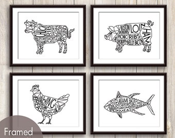 Geometric Butcher Diagrams Series A , Pig, Chicken and Tuna Fish - Set of 4 Art Prints (Featured in Black)