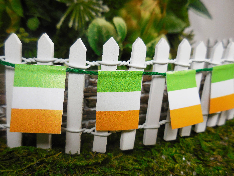 Fairy Garden Irish Paper Flag Banner Fairy Garden Pennant