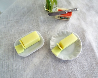Miniature BUTTER Stick on White Ceramic Plate - Round or Rectangle - 1:6 Scale Polymer Clay Realistic Miniatures for Fashion Dolls & Figures
