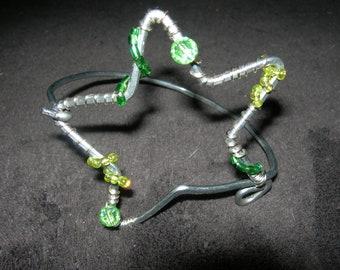 Upcycled Silver Tone Star Bracelet w/Green Glass Beads