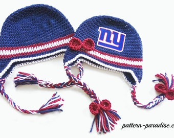 Crochet Pattern, Football Hat, Earflaps  PDF 12-059