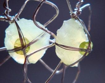 Green Chalcedony Lucky Clover Earrings