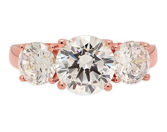 Promises Promises Halo, Halo Promises Promises,  3.25ct Round Cut Lab Diamond Solitaire 3-stone Wedding Band Ring 14k Rose Gold