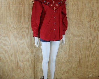 Vintage 1990's BLUE CANYON Western Wear Red Cotton Beaded Concho Embroidered Native American Blouse Shirt Large L