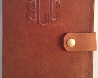 Personalized leather journal. Rustic brown