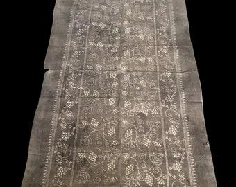 Antique Asian Faded Gray Cotton Batik Textile
