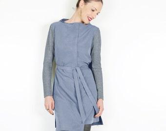 ON SALE Blue Long Sleeve Dress, Asymmetrical Dress, Womens Spring Clothes, High Fashion Dress, Long Sleeve Mini Dress, Womens Blue Dress