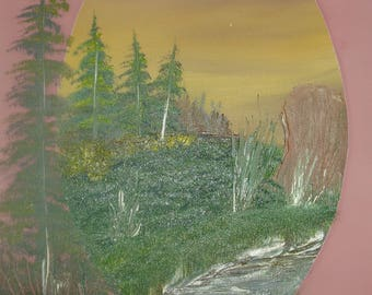 Oil Painting No: 007- Spruce Forest by the Stream.
