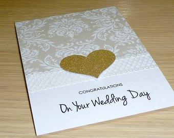 Wedding Day card - congratulations card - Wedding Engagement Anniversary Card - bride and groom - mr & mrs - handmade card