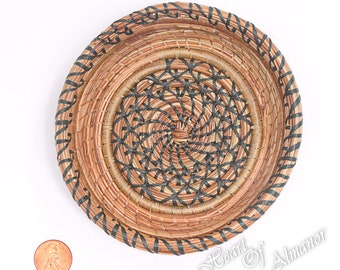 Turning Point , A small pine needle baasket with honey and forest green thread. A trinket, or gift basket , thank you gift