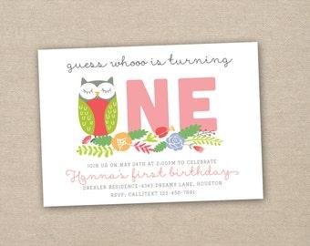 owl birthday invitation - 1st birthday invitation - owl party invitation