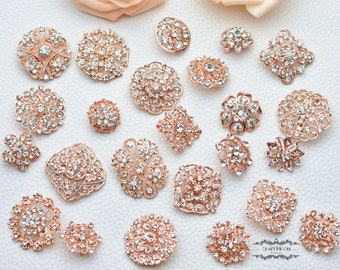 24 Rose Gold Brooch Lot Assorted Rhinestone Button Pin Wedding Brooch Bouquet Brooch Button Mixed Crystal Bridal Hair Cake Shoe Sash DIY