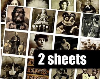 HUMAN ODDITIES - Digital Printable Collage Sheet - 2X2 Squares - Vintage Circus Sideshow Performers, Freakshow Portraits, Digital Download
