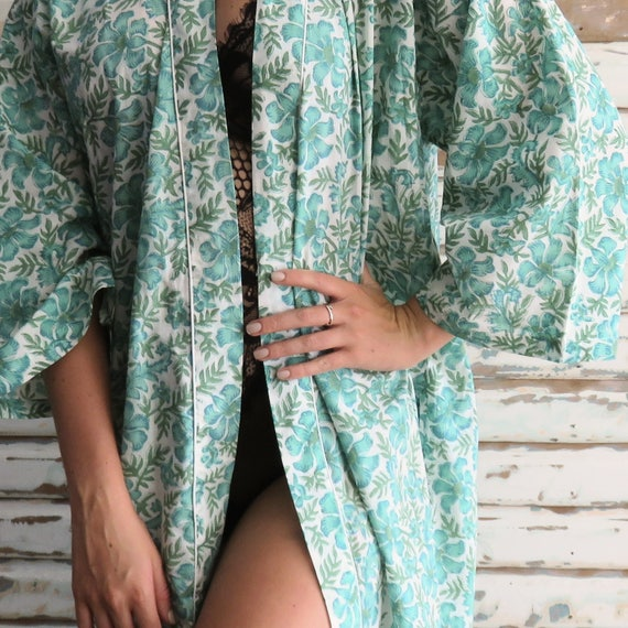 Kiyomi Green Hawaii Print 100 Percents Cotton Kimono Robe, Bridesmaid, Maternity, Loungewear by Etsy