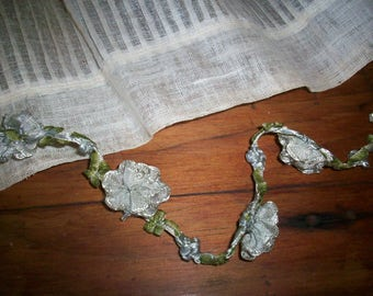 rare antique authentic ribbon work silk Garland