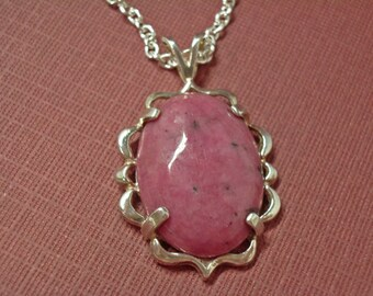 Rhodonite Cabochon Necklace - Pink Rhodonite Cabochon & Sterling Silver Necklace - Vintage Clasp