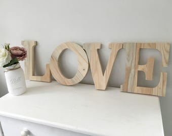 Love Sign - Wooden Love Sign - Mothers Day Gift - Rustic Wedding Decor - Rustic Home Decor - Farmhouse Decor - Free standing Love Sign