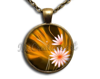 Flowers Daisies Glass Dome Pendant or with Chain Link Necklace NT132