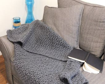 Charcoal Gray Chunky Crochet Throw Blanket