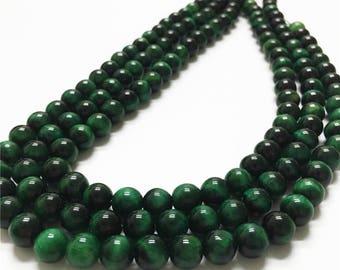 8mm Natural Green Tiger Eye Beads, Round Gemstone Beads, Wholasela Beads
