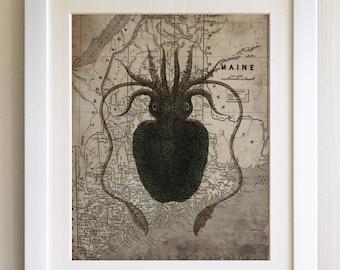 "FRAMED Vintage Map Octopus Print, 12""x10"" Black or White Frame, Modern Art"