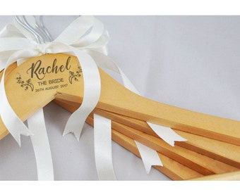 Personalised Wedding Hanger - Engraved Wood / White - Prom / Wedding Dress Hanger any title Bride Bridesmaid Flower Girl etc-Gift Idea L1086