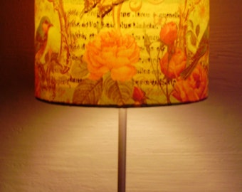 Decoupaged Lampshade Bedside Lamp Lampshade Table Lamp Lampshade Floral Lampshade Unique Lampshade Vintage Style Birds Butterflies Roses