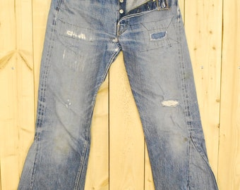 "Vintage 1960's/70's LEVIS ""BIG E"" 501's Denim Flare Jeans / Selvedge / Redline / BoHo Chic / Retro Collectable Rare"