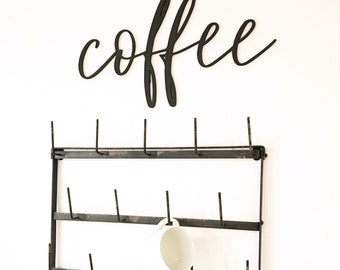 Coffee Laser Cut Word, black, wood sign, farmhouse, rustic decor, decor, coffee rack, laser-cut, laser cutout