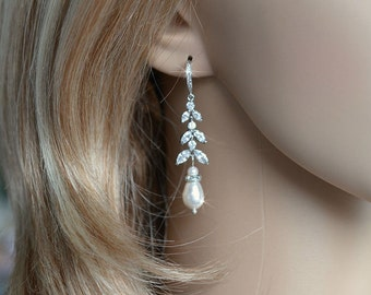 Delicate Handmade Cubic Zirconia CZ & Pearl Chandelier Dangle Bridal Earrings, Bridal, Wedding (Pearl-734)