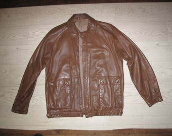 Men's leather jacket by Hornes, size Large