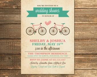 Bicycle Wedding Shower Invitation, Bridal Shower, Teal, Aqua, Coral, Retro, Vintage, Invite, Digital, Invitations, Printable Invitation