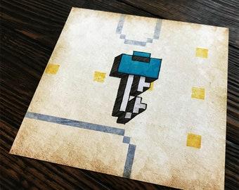 Pac Man Key - 8 bit - video game art - retro gaming - wall art - art prints - geek art - Ready Player One