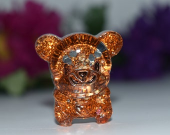 Orgone Energy Orange Bear Mini 1 pc -Quartz Crystal, Pyrite, Blue Kyanite