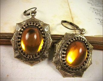 Medieval Jewelry, Topaz Jewel, Renaissance Earrings, Tudors, Borgias, Medieval Wedding, SCA Garb, Ren Faire, MedCol