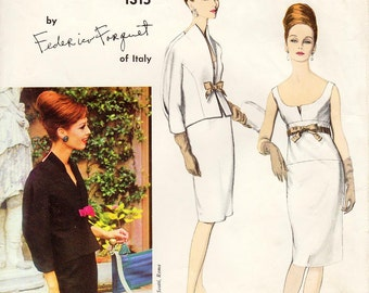 """Vintage 1960's Vogue Dress Pattern 1315 by FEDERICO FORQUET - Misses' One-Piece Dress and Jacket - Scoop Front/Square Back - SZ 12/Bust 32"""""""