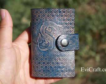 Credit Card case, business card holder, leather organiser, dragon, blue Leather wallet, personalised gift, hand tooled