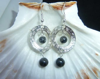 Earrings genuine larvikite