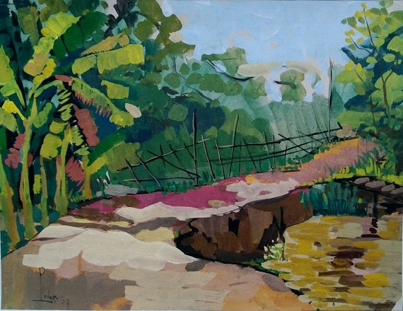 """THE TRAIL 20x16"""" gouache on paper, live painting, Mekong Delta (Cần Thơ Province), original by Nguyen Ly Phuong Ngoc"""