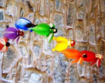 felted mobile, needle felt mobile, felted fairies mobile, angel mobile, rainbow mobile, nursery rainbow mobile, waldorf mobile, Steiner doll