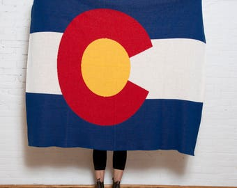 Eco Colorado Flag Throw- In2green Luxury Blanket, Recycled Cotton Blend, Knit in the USA, Flag Design