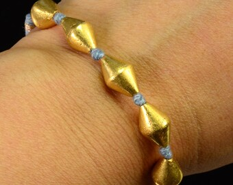 18K Rolled Yellow Gold Bead Woven Bracelet 5-9 INCH
