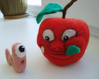 Needle Felted Apple and Worm  Handmade Sculpture Artist Wool Miniature Organic Toy  Funny Gift
