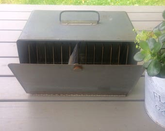Vintage storage case with dividers,  carrying case, metal box storage