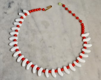 German Orange and White Glass Bead Necklace
