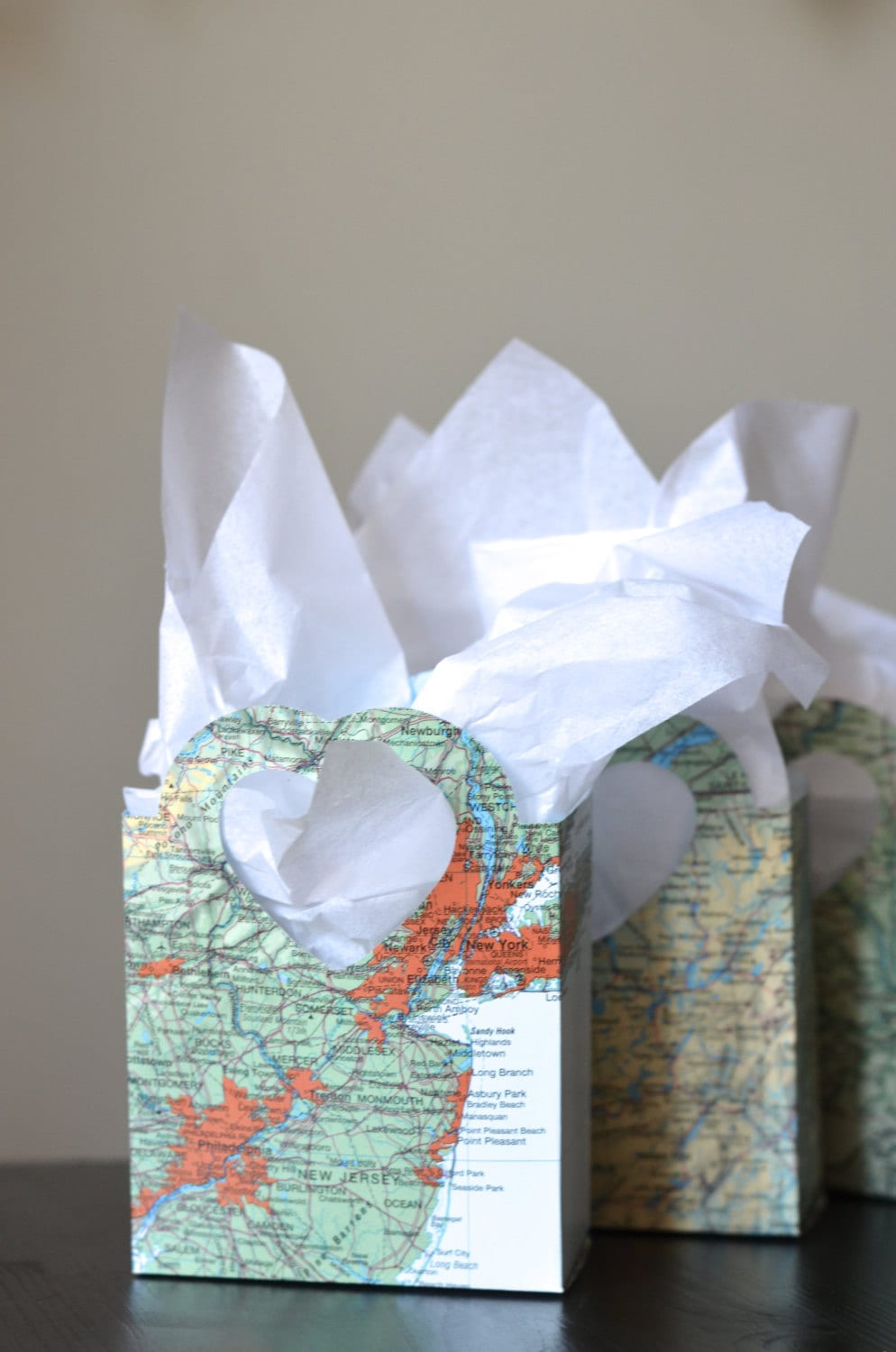 Vintage Map Heart Handled Gift Bags Perfect For Gift Cards