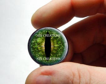 Glass Eyes - Dweller of the Deep Dragon Taxidermy Eye Cabochons - Pair or Single - You Choose Size